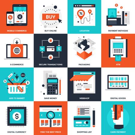 banco dinero: Colecci�n de vectores de fondo de los iconos de comercio digitales planas. Elementos para aplicaciones m�viles y web. Vectores