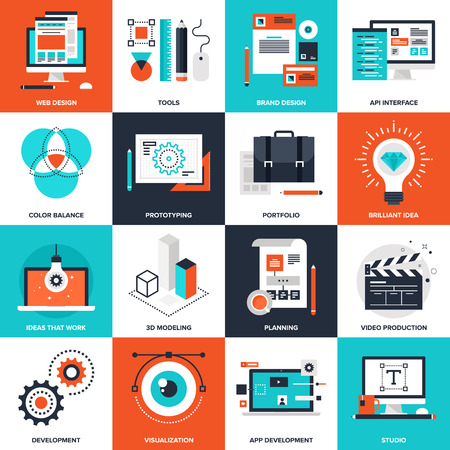 application software: Abstract vector collection of flat design and development icons. Elements for mobile and web applications.