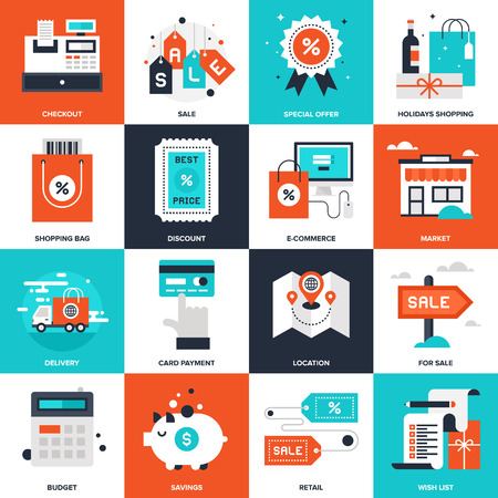 price list: Abstract vector collection of flat shopping and commerce icons. Elements for mobile and web applications.