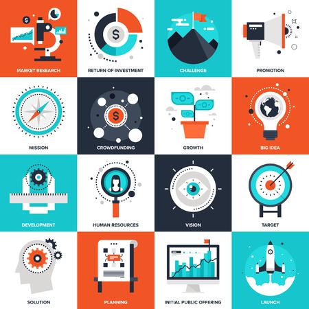 gestion empresarial: Colecci�n de vectores de fondo de inicio plana y nuevos iconos de negocios. Elementos para aplicaciones m�viles y web.