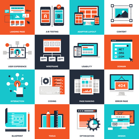 web: Abstract vector collection of flat web development icons. Elements for mobile and web applications.