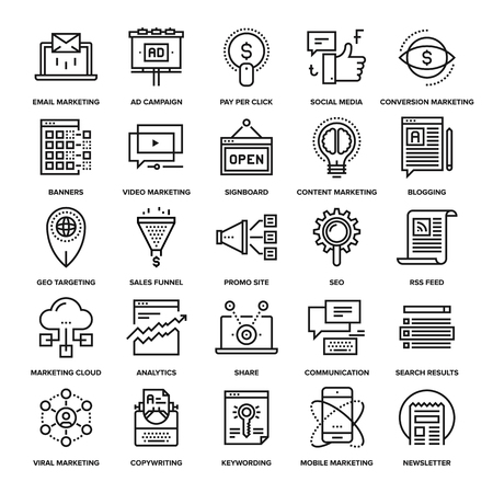 mobile marketing: Abstract vector collection of line digital marketing icons. Elements for mobile and web applications.