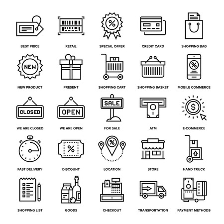 Abstract vector collection of line shopping and retail icons. Elements for mobile and web applications. Çizim