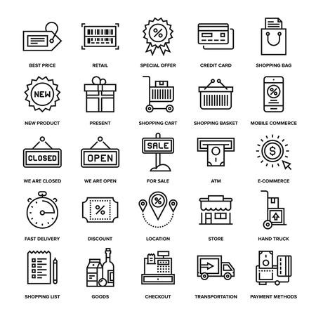 Colección de vectores de fondo de las compras en línea y al por menor iconos. Elementos para aplicaciones móviles y web.