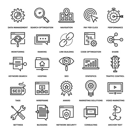 search solution: Abstract vector collection of line SEO and web optimization icons. Elements for mobile and web applications. Illustration