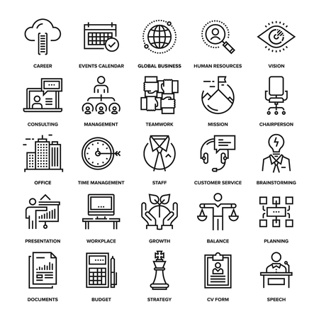gestion: Colección abstracta del vector de la línea de iconos de negocios de las empresas. Elementos para aplicaciones móviles y web.