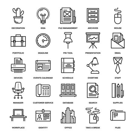 trabajo oficina: la recogida de vectores Resumen de la línea de oficina y de negocios iconos. Elementos para aplicaciones móviles y web.