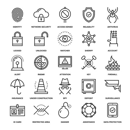 computer virus: Abstract vector collection of line security and protection icons. Elements for mobile and web applications.