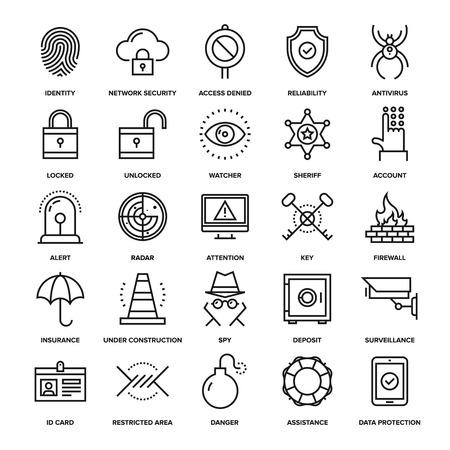 identidad: Colección abstracta del vector de los iconos de seguridad de línea y de protección. Elementos para aplicaciones móviles y web.