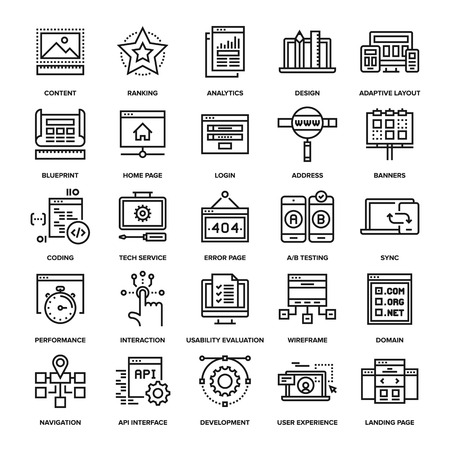 development: Abstract vector collection of line web development icons.