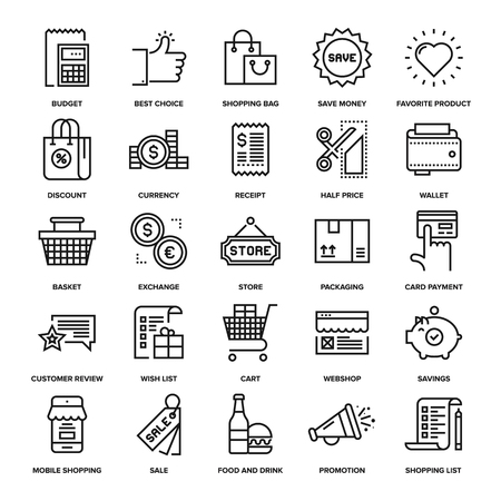 ecommerce: Abstract vector collection of line shopping and retail icons.