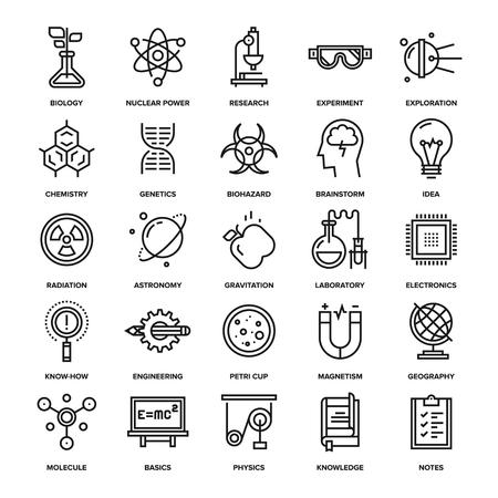 Abstract vector collectie van online onderzoek en wetenschap iconen. Elementen voor mobiele en web applicaties. Stock Illustratie