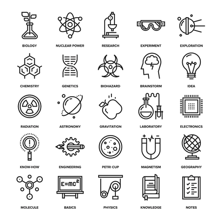 electronics engineering: Abstract vector collection of line research and science icons. Elements for mobile and web applications.
