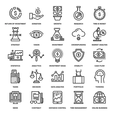 solution: Abstract vector collection of line analytics and investment icons. Elements for mobile and web applications. Illustration