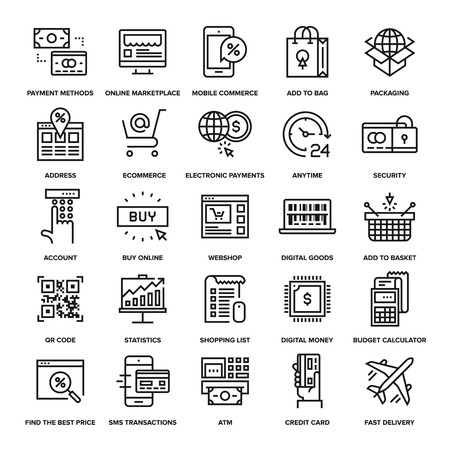 ecommerce icons: Abstract vector collection of line digital commerce icons.