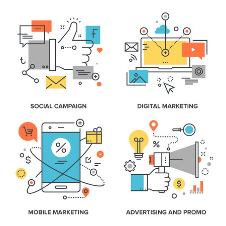 social communication: Vector set of conceptual flat line illustrations on following themes - social campaign, digital marketing, mobile marketing, advertising and promo