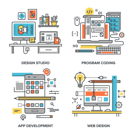 Conjunto de vectores de ilustraciones conceptuales de líneas planas sobre los siguientes temas: estudio de diseño, codificación de programas, desarrollo de aplicaciones, diseño web