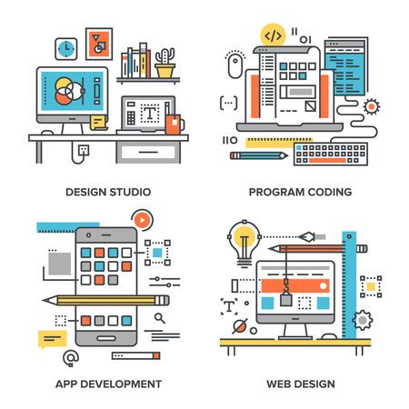 Wektor zestaw pojęciowych płaskich ilustracjami linia na następujących tematów - design studio, kodowania programu, rozwój aplikacji, projektowanie stron internetowych