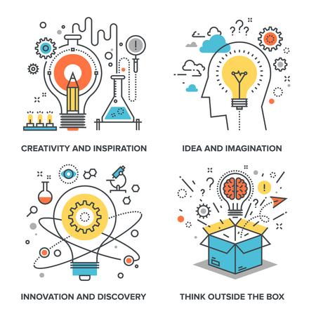 kavram: Aşağıdaki temalar üzerine kavramsal düz çizgi çizimler set vektör - yaratıcılık ve ilham, fikir ve hayal gücü, yenilik ve keşif, kutunun dışında düşünmek