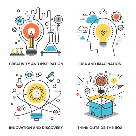 pensando: Vector conjunto de ilustraciones conceptuales planas en l�nea siguientes temas - la creatividad y la inspiraci�n, la idea y la imaginaci�n, la innovaci�n y el descubrimiento, pensar fuera de la caja Vectores
