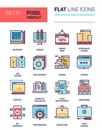 interface menu tool: Vector set of pixel perfect based on 64 px grid colorful flat line web icons on web design and development theme.