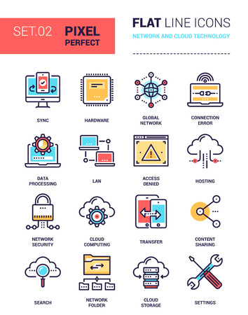 cloud based: Vector set of pixel perfect based on 64 px grid colorful flat line web icons on network and cloud technology theme. Illustration