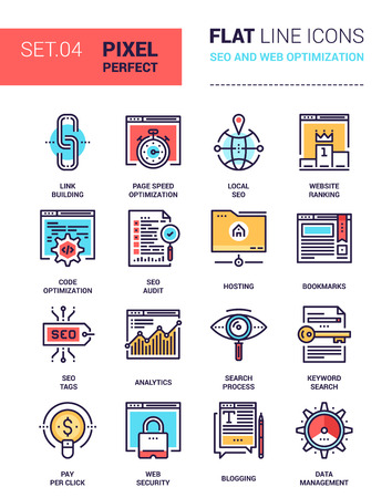 pixel perfect: Vector set of pixel perfect based on 64 px grid colorful flat line web icons on SEO and web optimization theme. Illustration