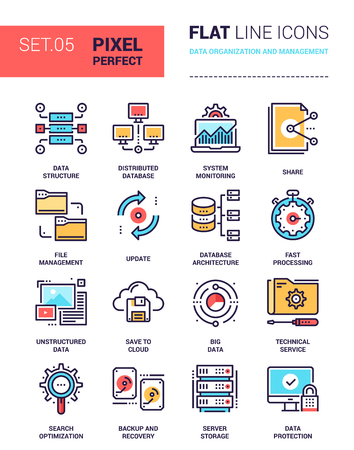 Vector set of pixel perfect based on 64 px grid colorful flat line web icons on data organization and management theme.