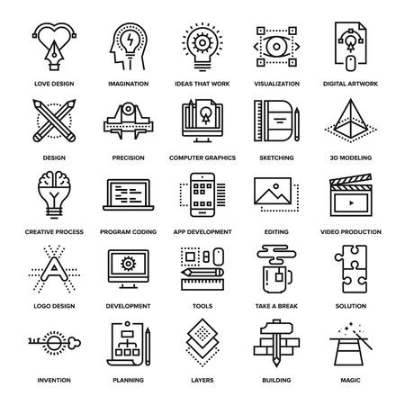 proceso: colección abstracta del vector de la línea de iconos del proceso creativo. Elementos para aplicaciones móviles y web.