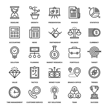 Abstract vector collection of line business and finance icons. Elements for mobile and web applications. Ilustração