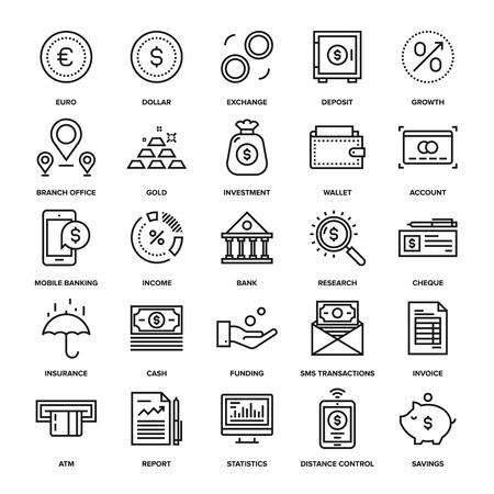 banco dinero: Colecci�n de vectores de fondo de la l�nea de las actividades bancarias y dinero iconos. Elementos para aplicaciones m�viles y web.