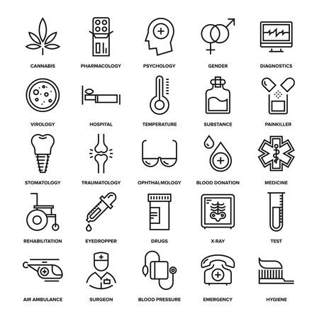 medicina: colección abstracta del vector de los iconos de la salud y de la medicina línea. Elementos para aplicaciones móviles y web. Vectores
