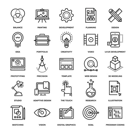 proceso: colección abstracta del vector de iconos del diseño y desarrollo de línea. Elementos para aplicaciones móviles y web.