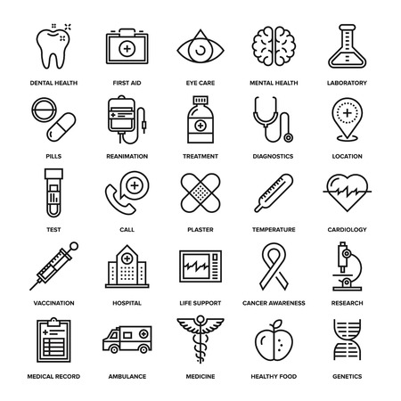 Abstract vector collection of line healthcare and medicine icons. Elements for mobile and web applications. Çizim