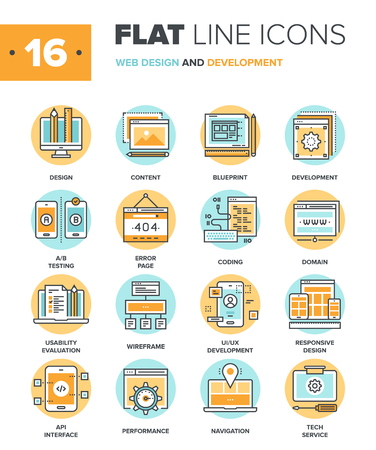 computer software: Abstract vector collection of flat line web design and development icons. Elements for mobile and web applications.
