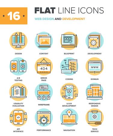 Streszczenie wektora kolekcja projektowania stron internetowych ikon płaska linia. Elementy dla aplikacji mobilnych i internetowych.