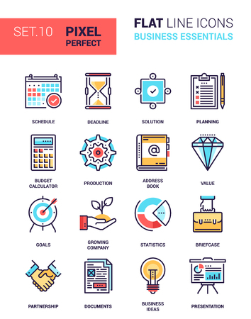 set of business essentials colorful flat line web icons. Each icon neatly designed on pixel perfect 64X64 size grid with adjustable strokes. Fully editable and easy to use.