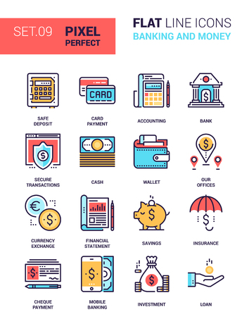 easy money: set of banking and money colorful flat line web icons. Each icon neatly designed on pixel perfect 64X64 size grid with adjustable strokes. Fully editable and easy to use.