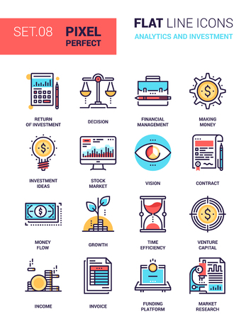 set of analytics and investment colorful flat line web icons. Each icon neatly designed on pixel perfect 64X64 size grid with adjustable strokes. Fully editable and easy to use.