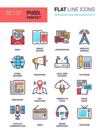 set of communication and connectivity colorful flat line web icons. Each icon neatly designed on pixel perfect 64X64 size grid with adjustable strokes. Fully editable and easy to use.