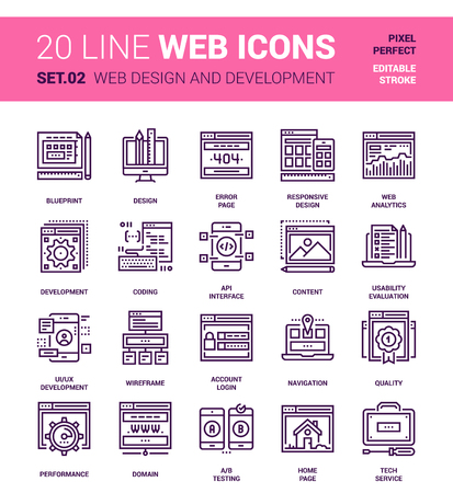 pixel perfect: Vector set of web design and development line web icons. Each icon with adjustable strokes neatly designed on pixel perfect 64X64 size grid. Fully editable and easy to use.