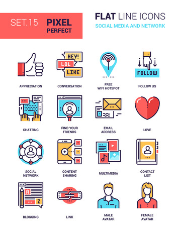 pixel perfect: Vector set of social media and network flat line web icons. Each icon with adjustable strokes neatly designed on pixel perfect 64X64 size grid. Fully editable and easy to use. Illustration