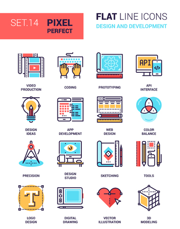 pixel perfect: Vector set of design and development flat line web icons. Each icon with adjustable strokes neatly designed on pixel perfect 64X64 size grid. Fully editable and easy to use. Illustration