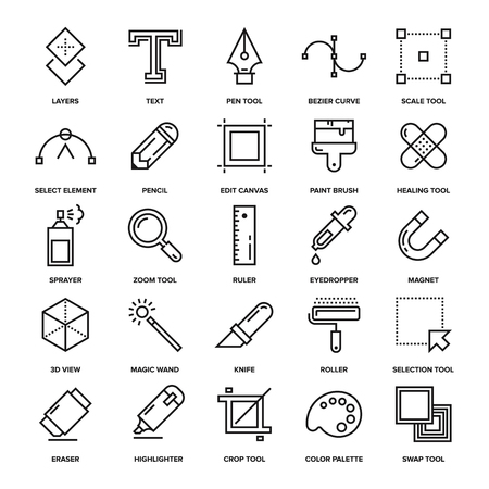 application software: Abstract vector collection of line design tools icons. Elements for mobile and web applications. Illustration