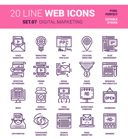 pixel perfect: Vector set of digital marketing line web icons. Each icon with adjustable strokes neatly designed on pixel perfect 64X64 size grid. Fully editable and easy to use.
