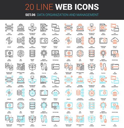 pixel perfect: Vector set of data organization and management line web icons. Each icon with adjustable strokes neatly designed on pixel perfect 64X64 size grid. Fully editable and easy to use.