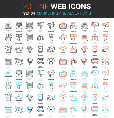 Vector set of marketing and advertising line web icons. Each icon with adjustable strokes neatly designed on pixel perfect 64X64 size grid. Fully editable and easy to use.