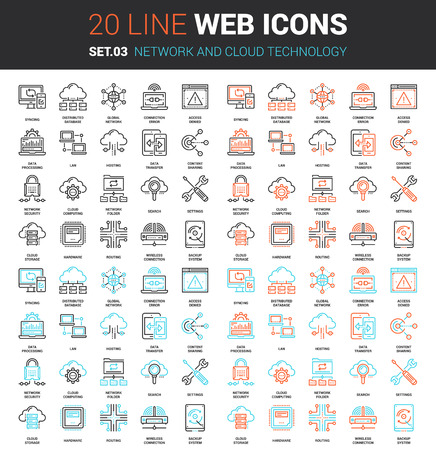 Vector set of network and cloud technology line web icons. Each icon with adjustable strokes neatly designed on pixel perfect 64X64 size grid. Fully editable and easy to use.