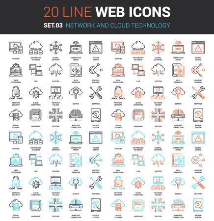 Vector set d'icônes ligne Web réseau et de la technologie de cloud. Chaque icône avec des traits réglables parfaitement conçu sur pixel parfait grille de taille 64x64. Entièrement modifiable et facile à utiliser.