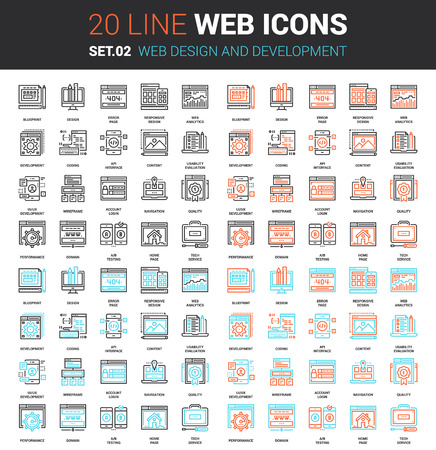 Vector set di web design e linea di sviluppo web icons. Ogni icona con colpi regolabili ordinatamente progettato su pixel perfetto griglia di dimensioni 64x64. Completamente modificabili e facile da usare. Vettoriali